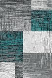 Turquoise modern vloerkleed