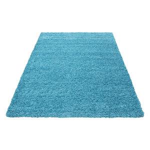 Effen hoogpolig vloerkleed Fair 4000/AY Turquoise