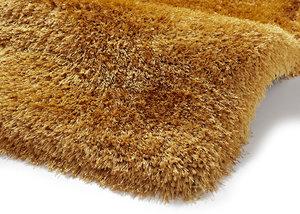 Handgemaakt effen hoogpolig vloerkleed Monza de Luxe kleur geel
