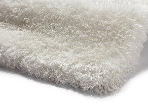 Handgemaakt effen hoogpolig vloerkleed Monza de Luxe kleur wit