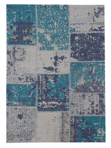 Patchworkvloerkleed Mitra kleur turquoise handgemaakt