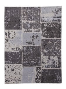 Patchworkvloerkleed Mitra kleur antraciet handgemaakt