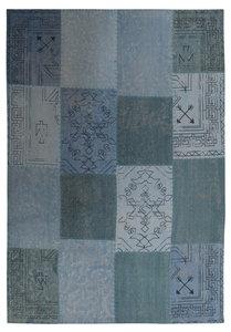 Patchwork vloerkleed Lira Multicolor blauw