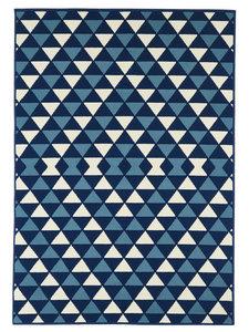 Geblokt vloerkleed blauw Chios