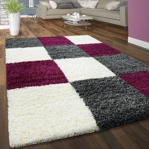 Hoogpolig vloerkleed Dorin 910 kleur Purple