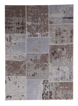 Patchworkvloerkleed Mitra kleur bruin handgemaakt