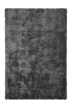 Effen vloerkleed hoogpolig Baston Antraciet