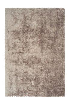 Effen vloerkleed hoogpolig Baston Taupe