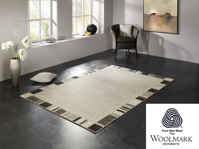 Handgemaakt wollen vloerkleed Wool Plus 470 Natur