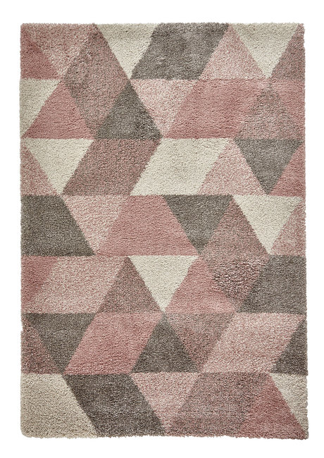 Hoogpool vloerkleed Norman kleur creme roze 7611