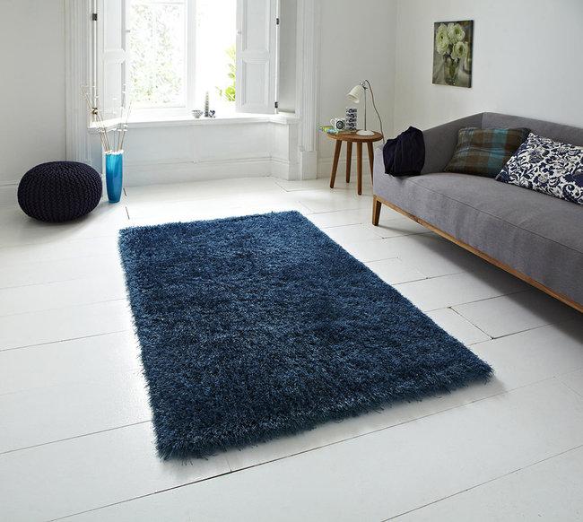 Hoogpolig vloerkleed Montblanc kleur blauw